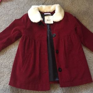 Red corduroy fur collar toddler Hanna Coat sz90